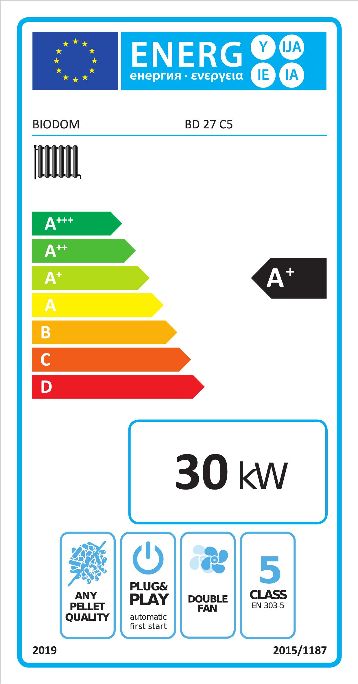 Energielabel A+ voor Biodom 27C5 met 30 kW